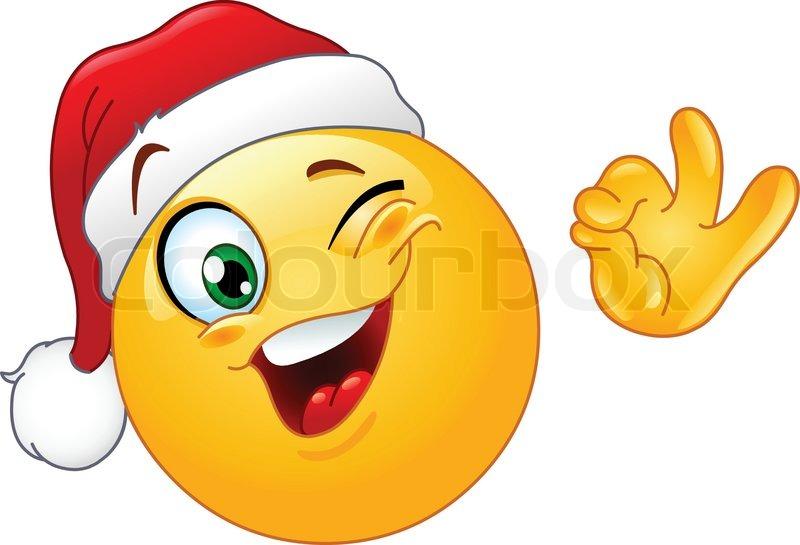 Winking Emoticon Wearing Santa Hat