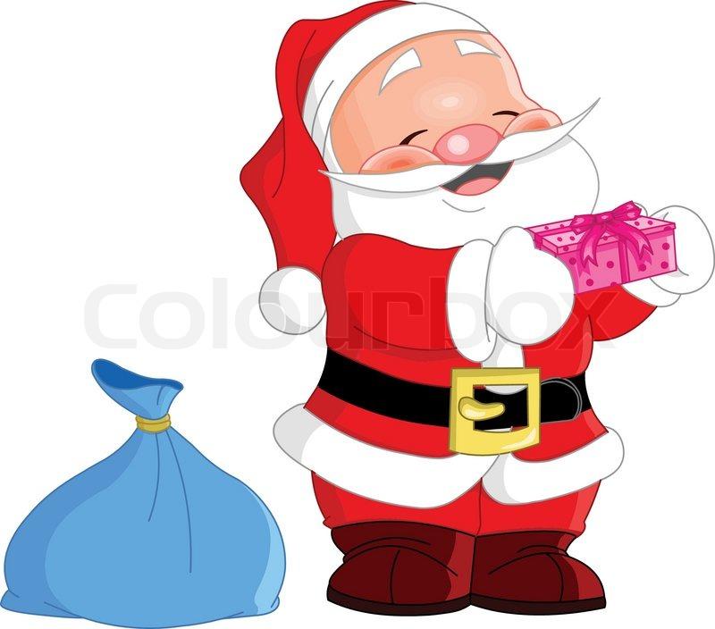 cute santa claus holding a gift vector - Santa Claus Gifts
