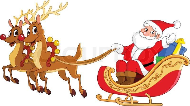 Santa seinen Schlitten fahren | Stock-Vektor | Colourbox