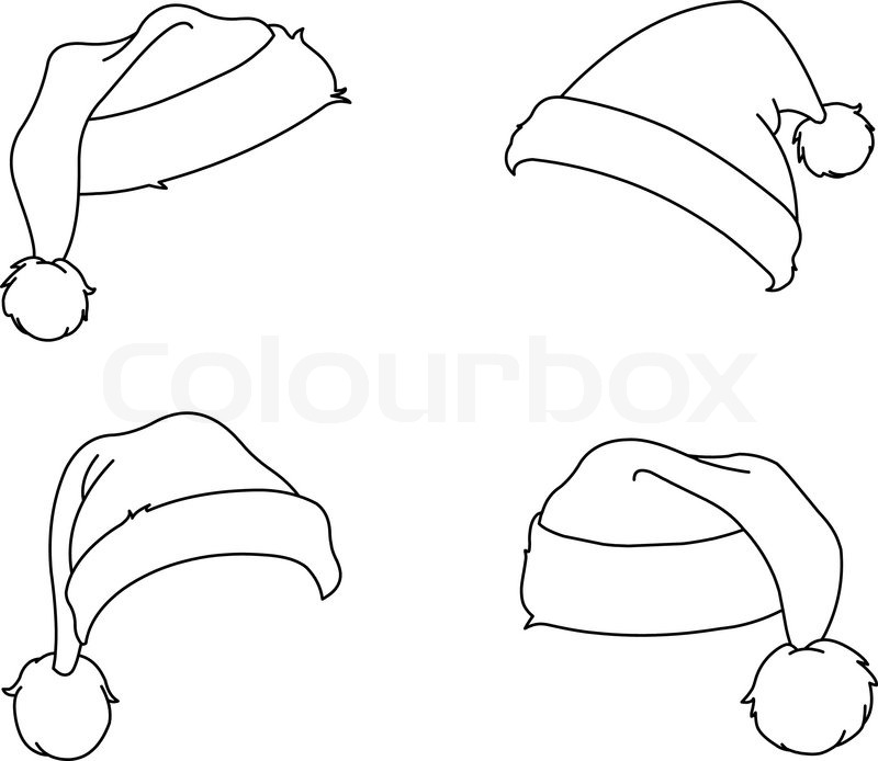 Outlined Santa hats. coloring page | Stock Vector | Colourbox