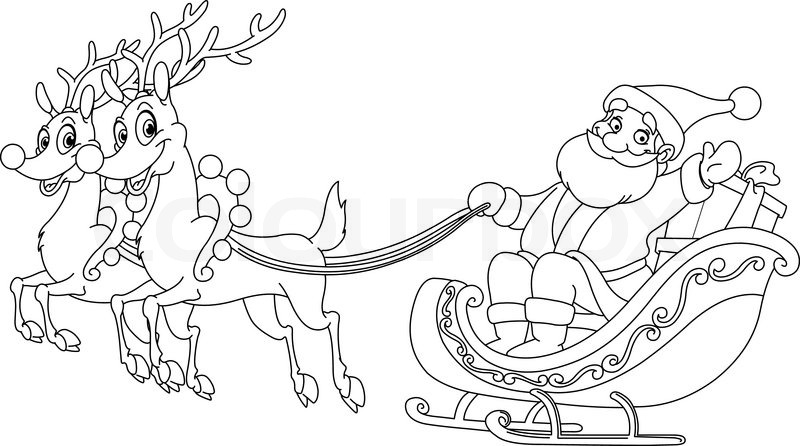 outlined santa riding his sleigh coloring page stock vector