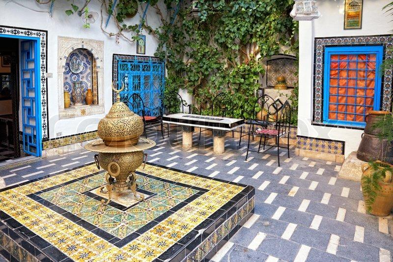Courtyard At Sidi Bou Said Tunis Tunisia Stock Photo