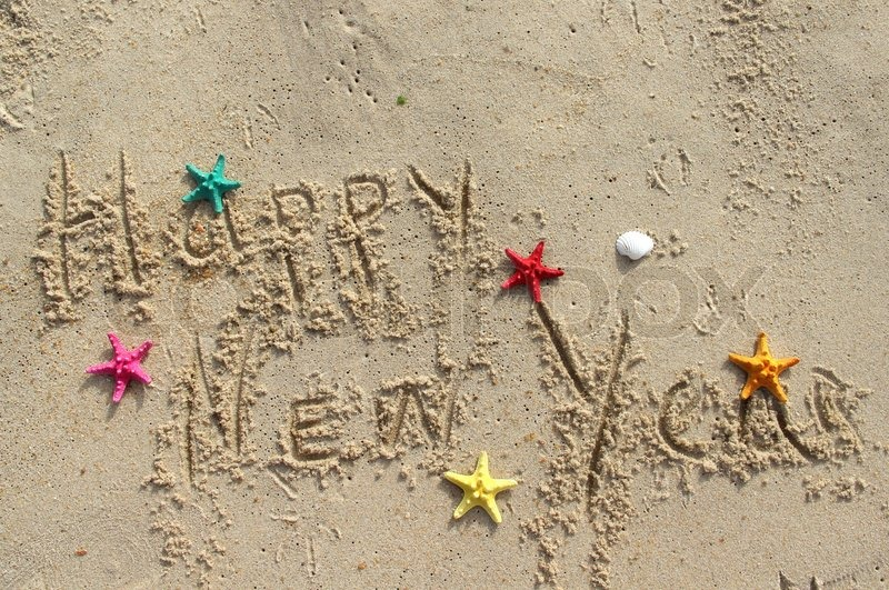 happy new year beach postcard stock photo colourbox