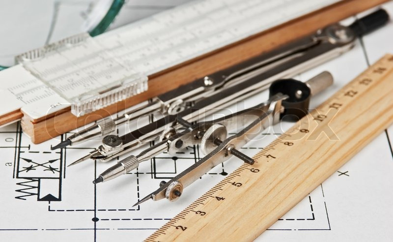 Tools Used In Drafting Equipment Or Instrument : Engineering tools on technical drawing stock photo