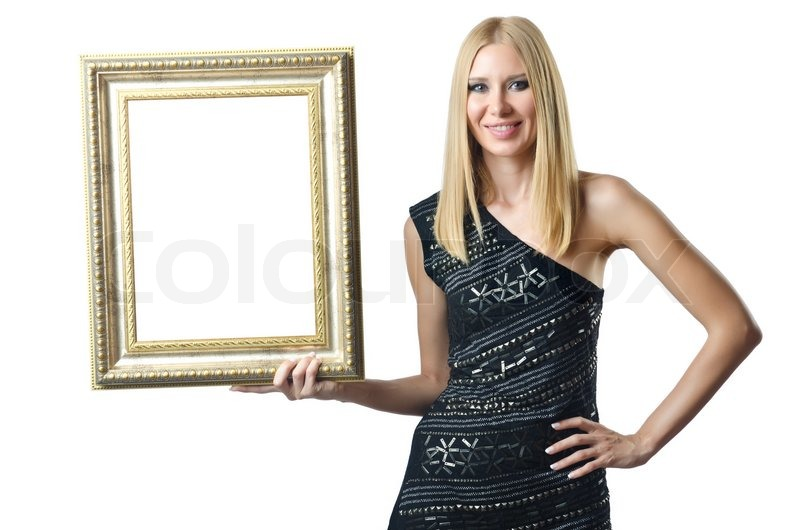 Woman holding picture frame on white | Stock Photo | Colourbox