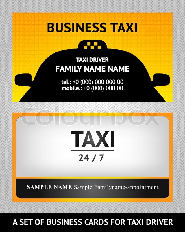 business cards taxi set vector - Taxi Business Cards