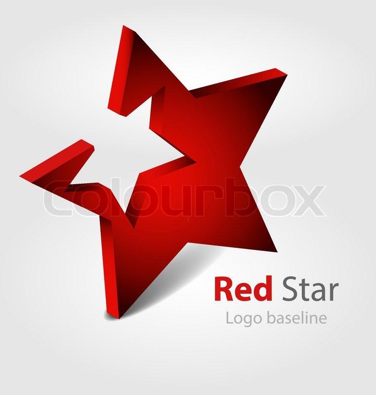 red star 3d vector logo stock vector colourbox