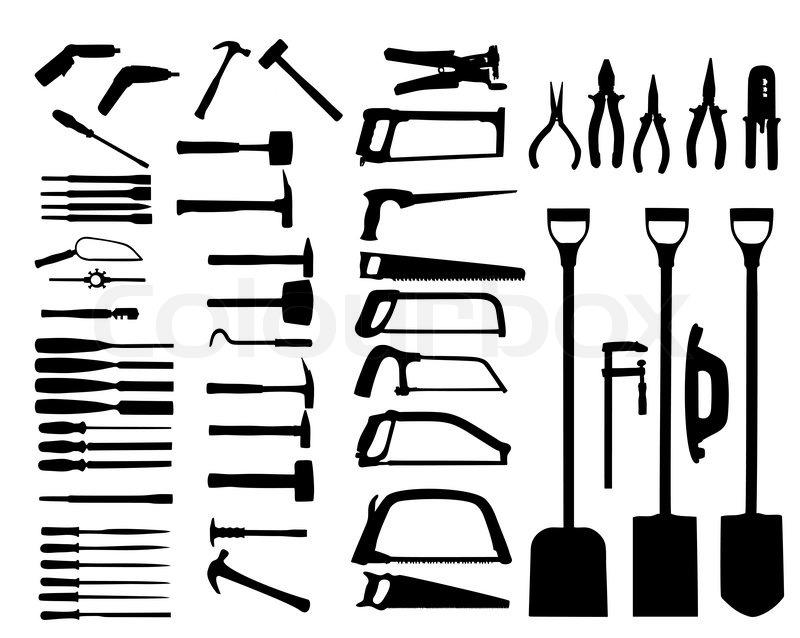 set of power tools  shovel  drill  hammer vector icon