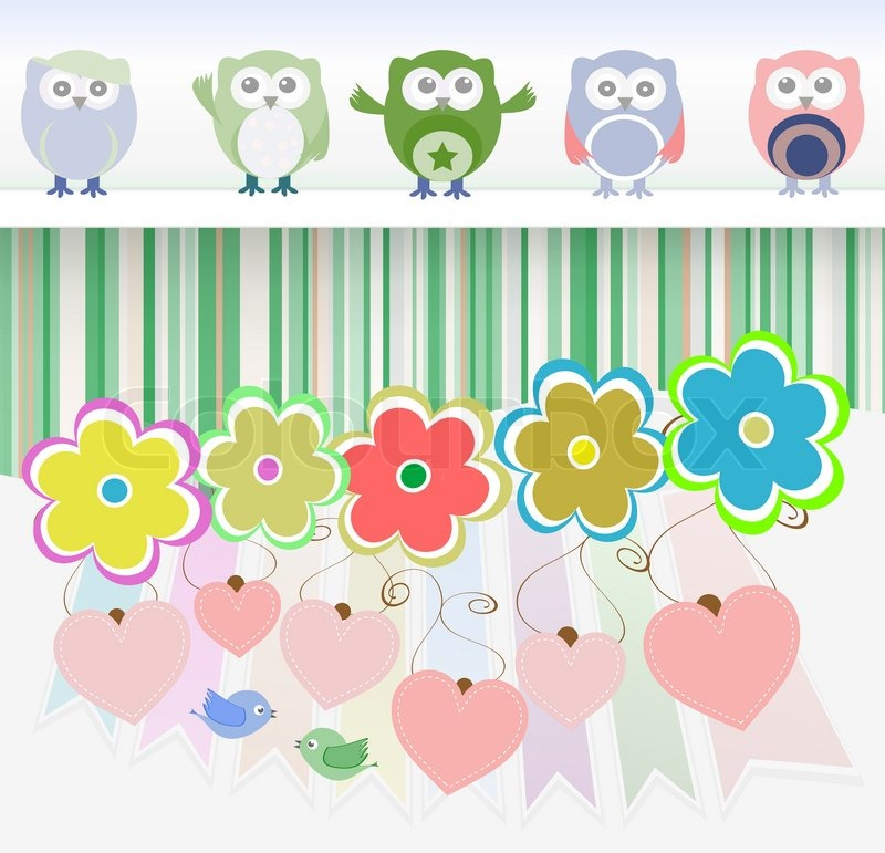 Sweet Owls Flowers Love Hearts And Cute Birds