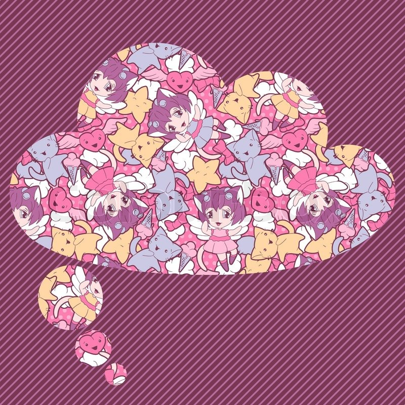 Background with doodle Vector cute kawaii illustration | Stock ...