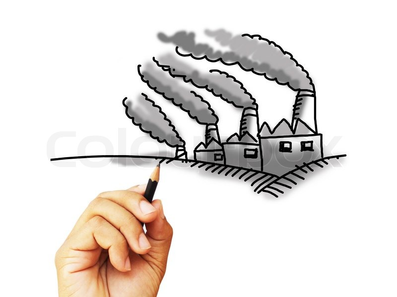 Factory pollution by hand sketching stock photo
