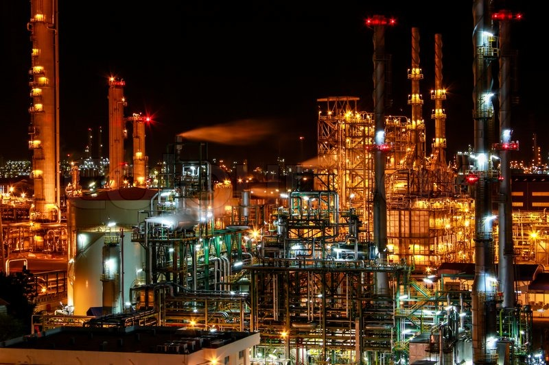Night Scene Of Chemical Plant Stock Photo Colourbox
