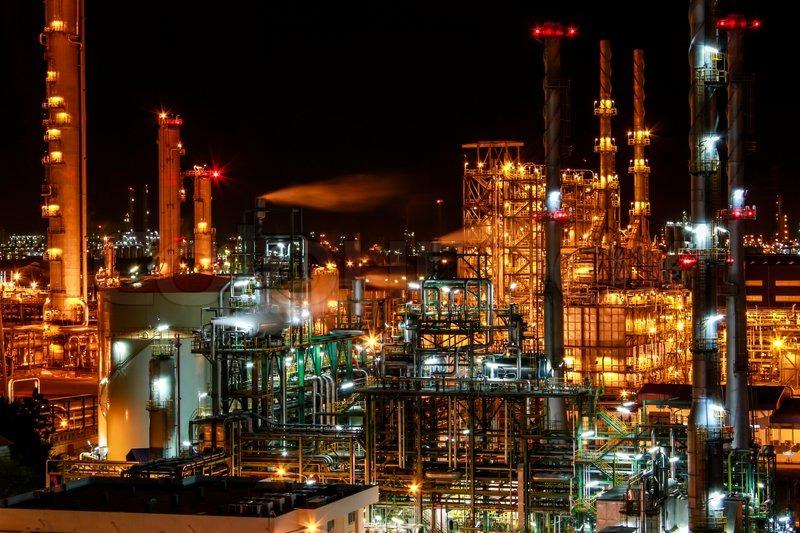 Night Scene Of Chemical Plant Stock Photo Colourbox