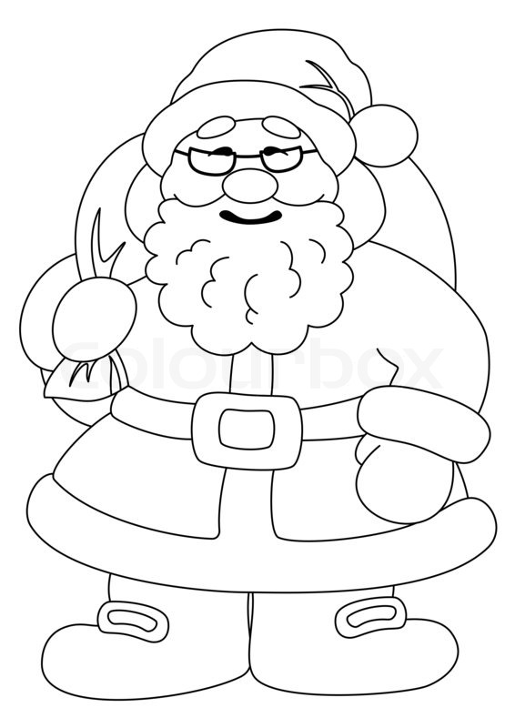 Santa Claus With Bag Of Gifts Outline Stock Photo