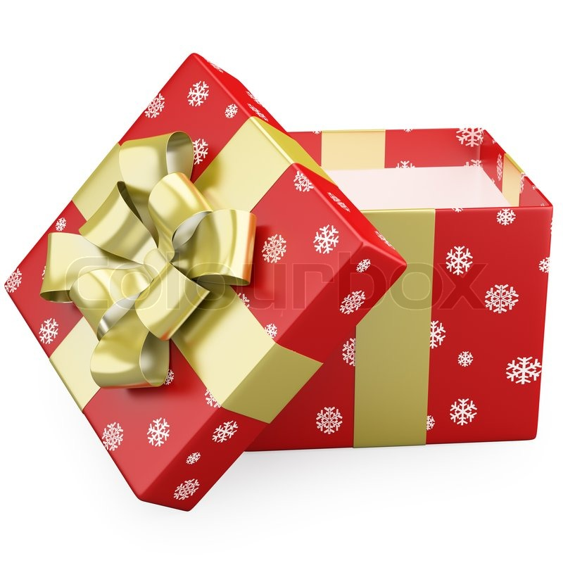A red Christmas gift open with a gold ribbon | Stock Photo | Colourbox