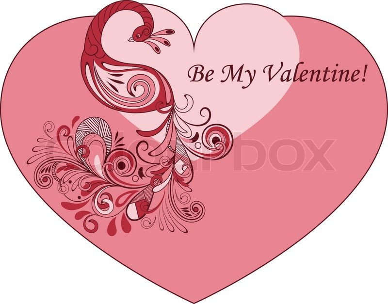 Vector Heart Shape Valentines Greeting Card with Peacock – Heart Shaped Valentine Cards