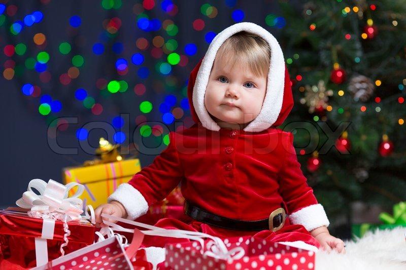Kid Girl Dressed As Santa Claus