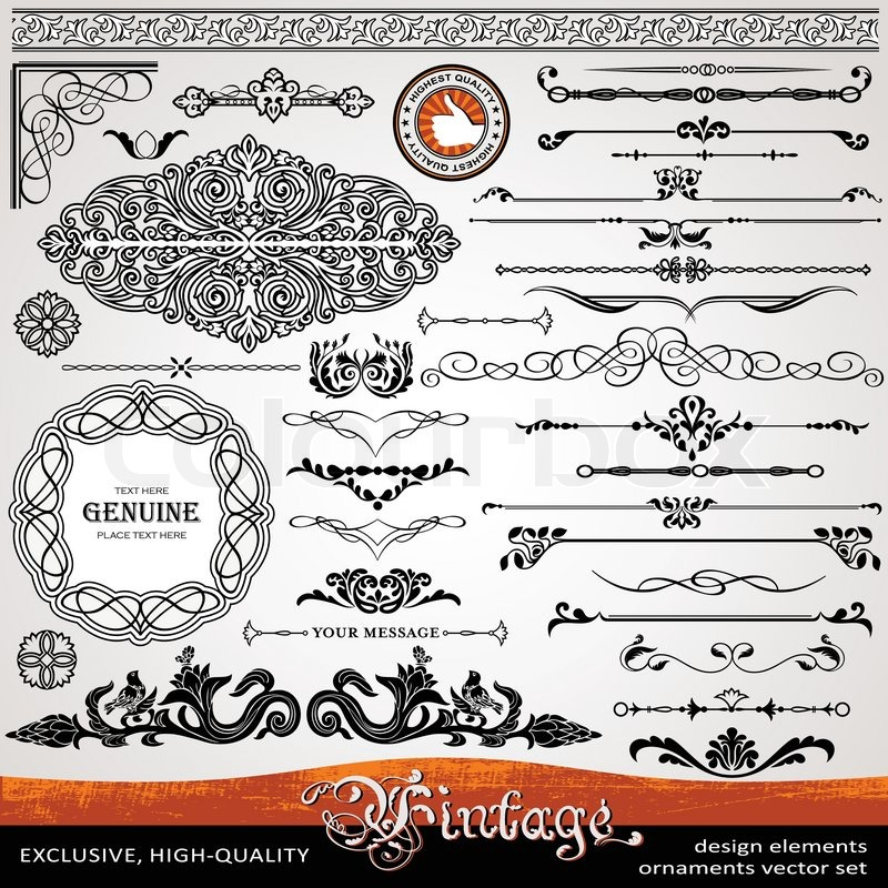 Vintage Ornaments And Dividers Calligraphic Design Elements Page Decoration Exclusive Highest Quality Retro Style Set Of Ornate Floral Patterns