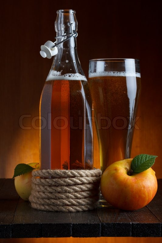 Apple Cider Glass And Bottle With Apples Still Life