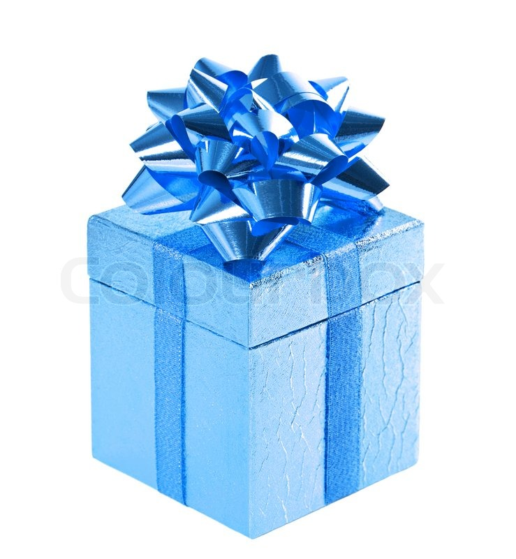 Blue shiny gift box with bow on white | Stock image | Colourbox