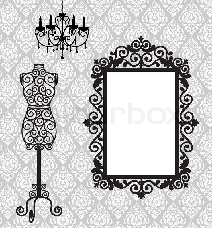 frame mannequin and chandelier stock vector colourbox