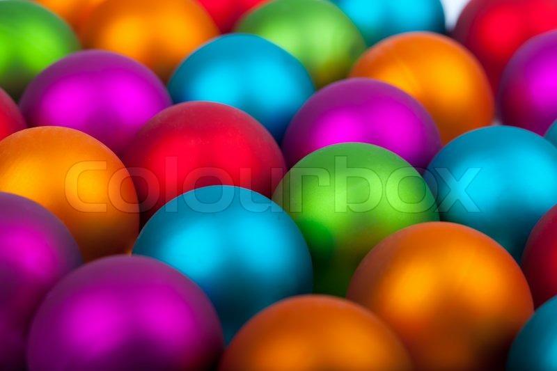 Colorful Christmas Balls.Multi Colored Christmas Balls Red Stock Image