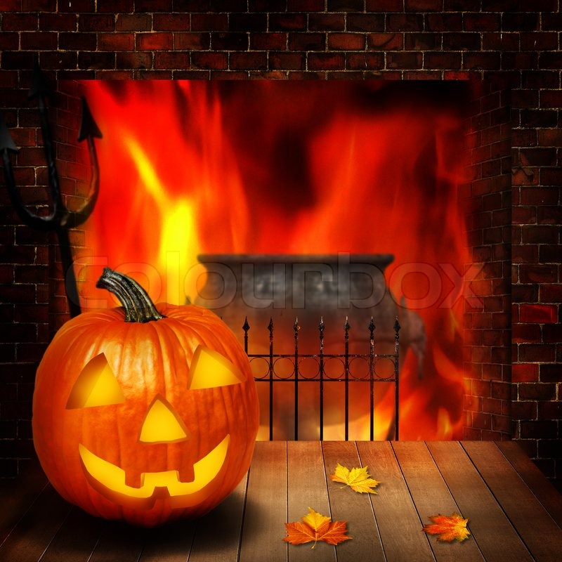 Fireplace Halloween Decorations: Halloween Abstract Backgrounds Witn Pumpkin And Fireplace