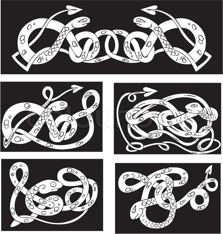 celtic knot patterns with snakes stock vector colourbox rh colourbox com