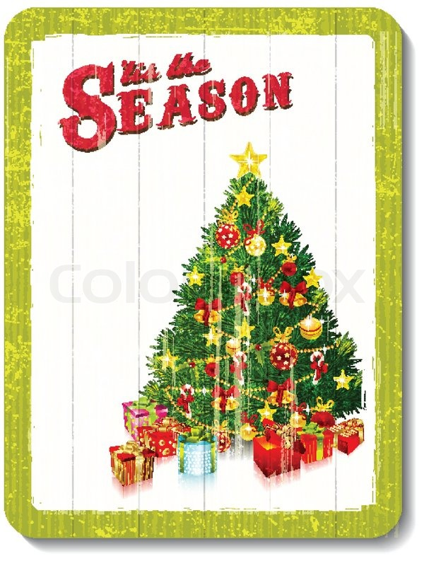 vintage holz dekoration wand mit weihnachtsbaum vektorgrafik colourbox. Black Bedroom Furniture Sets. Home Design Ideas