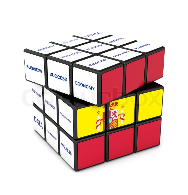Rubik spain flag economy business success teamwork symbol for Rubik espana