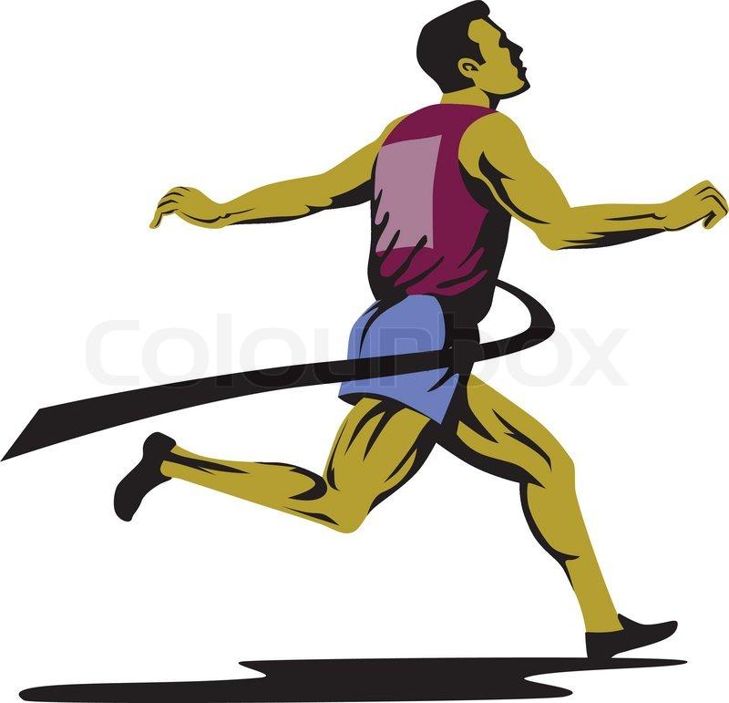 Marathon Runner Athlete Running Finish Line   Stock Vector ...
