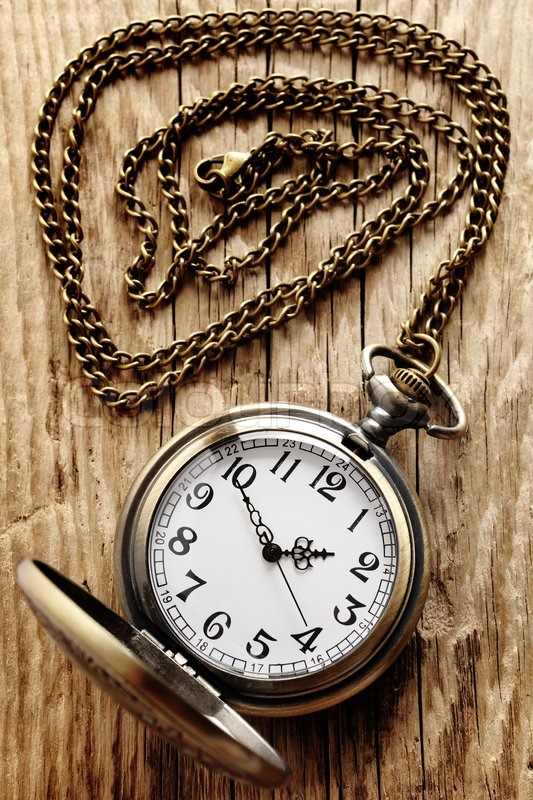 Vintage Pocket Watch On Chain On Wooden Background Stock Photo Colourbox