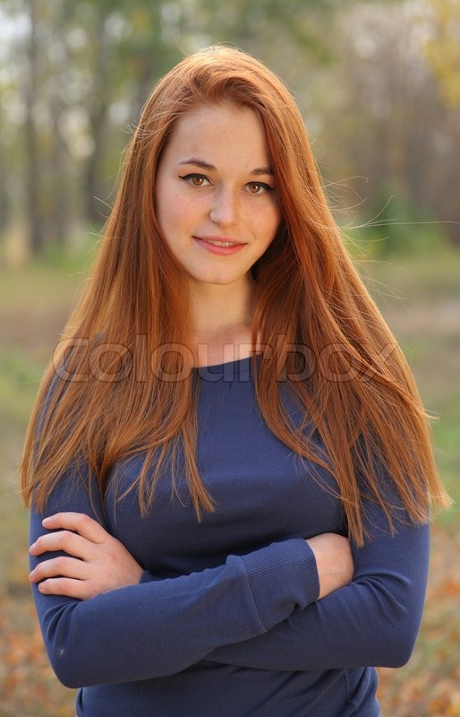 Red Haired Girl Portrait Smiling Stock Photo Colourbox