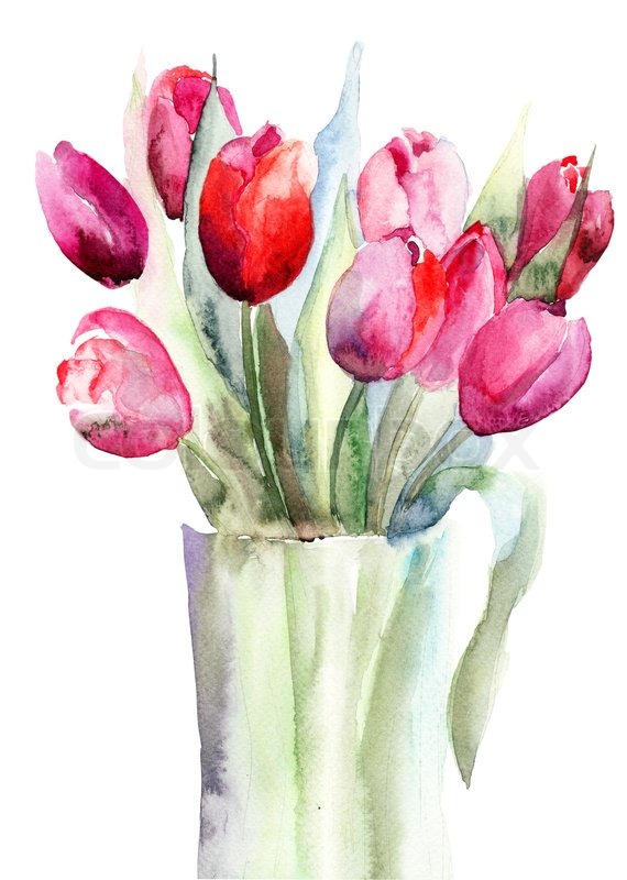 Beautiful Tulips Flowers Watercolor Painting Stock