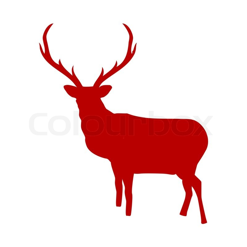 Red reindeer isolated on white background EPS 8 Stock Vector