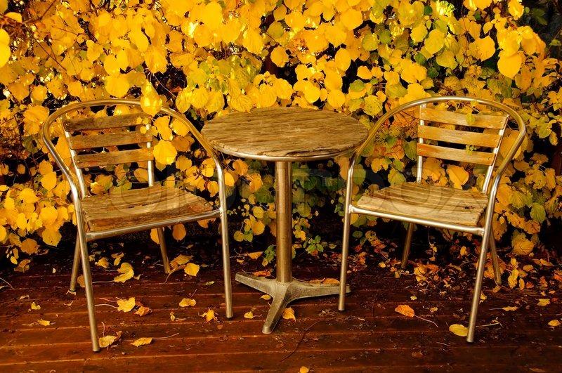 garden furniture in autumn stock photo autumn furniture