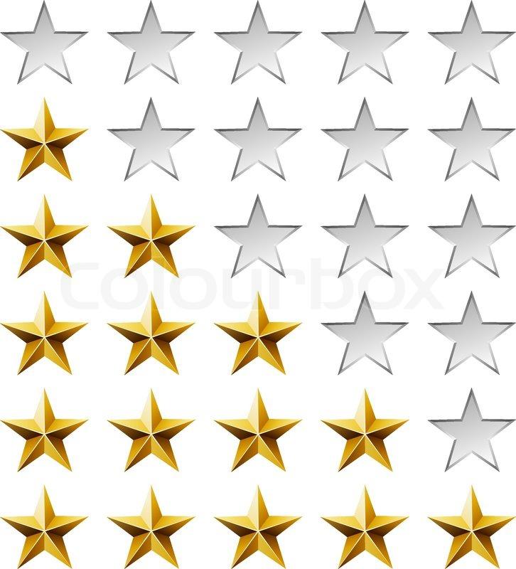 Goldene Sterne Bewertung Vorlage isoliert auf weißem Hintergrund ...