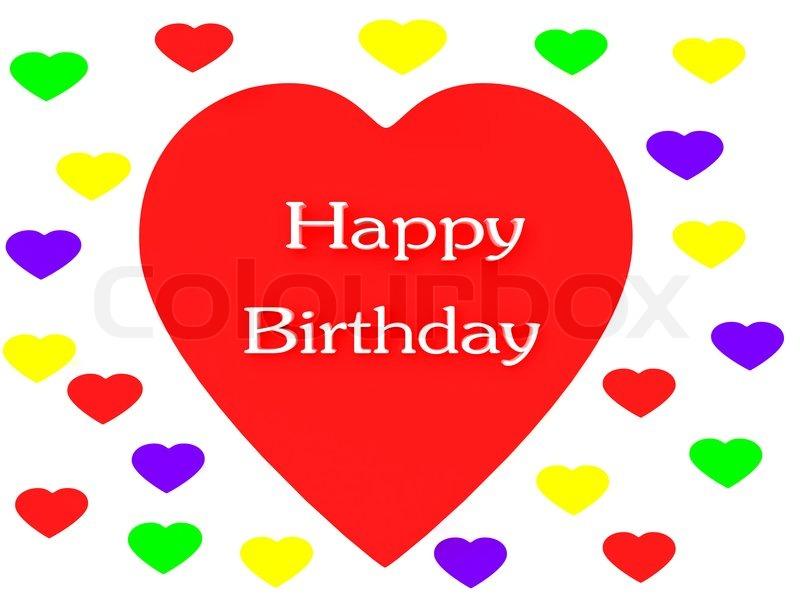 Alles Gute Zum Geburtstag Herz Rendern Isoliert Stockfoto Colourbox