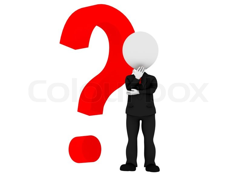 3d Human With A Red Question Mark Stock Photo Colourbox