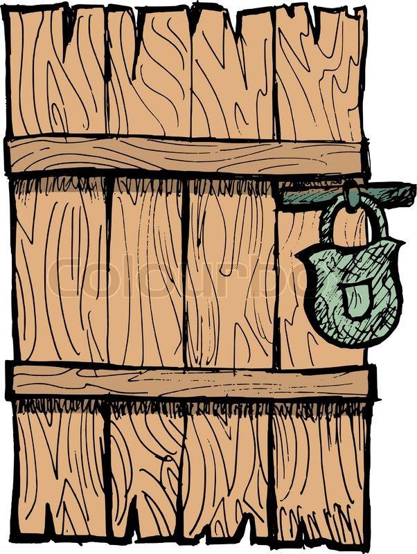 Old Wooden Door Stock Vector Colourbox