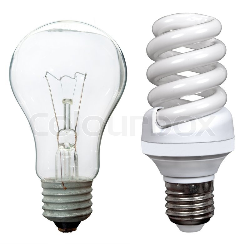 Incandescent And Fluorescent Energy Saving Light Bulbs Stock Photo Colourbox