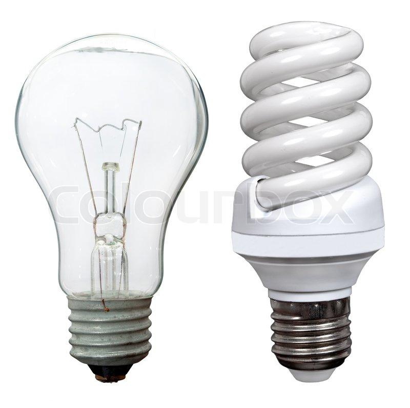 Incandescent And Fluorescent Energy Saving Light Bulbs Stock Photo Colourbox