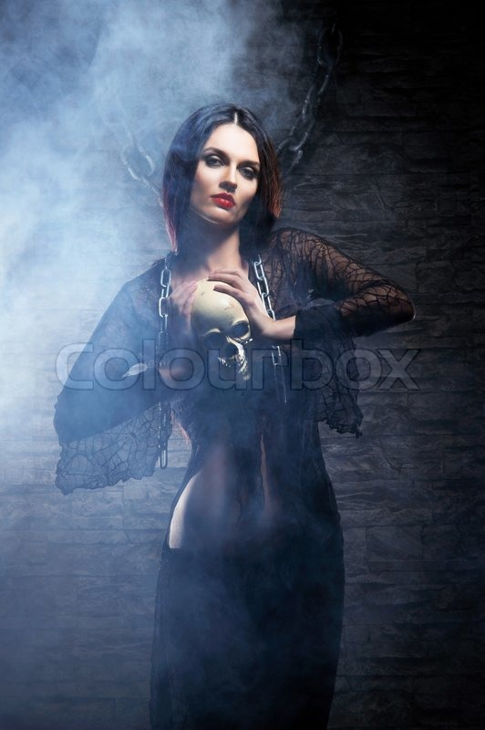 79f2c748d8c Halloween concept: young and sexy witch ... | Stock image | Colourbox
