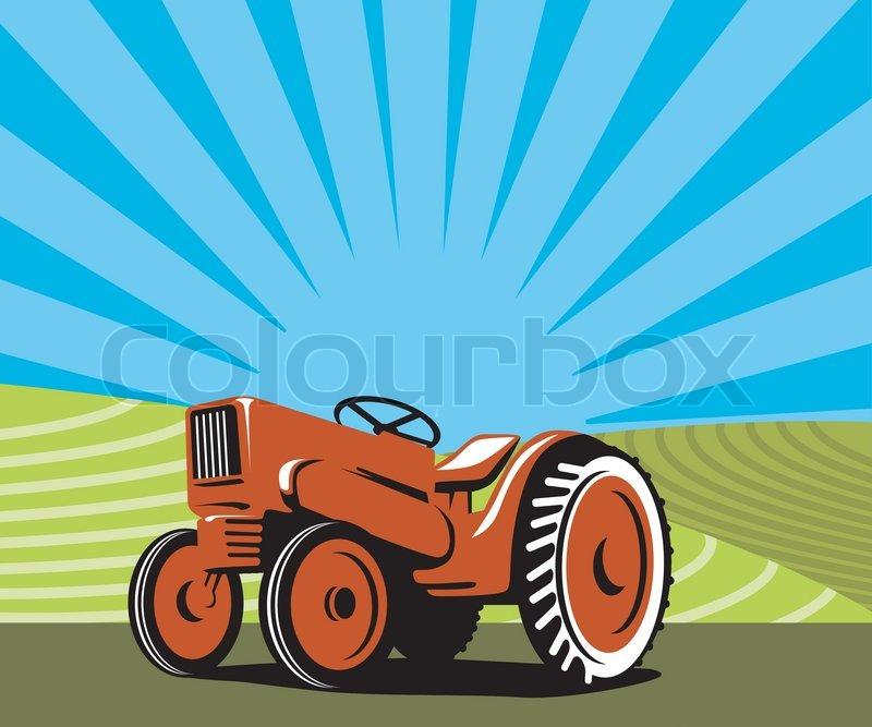 Vintage Farm Tractor In Farm Field Stock Vector