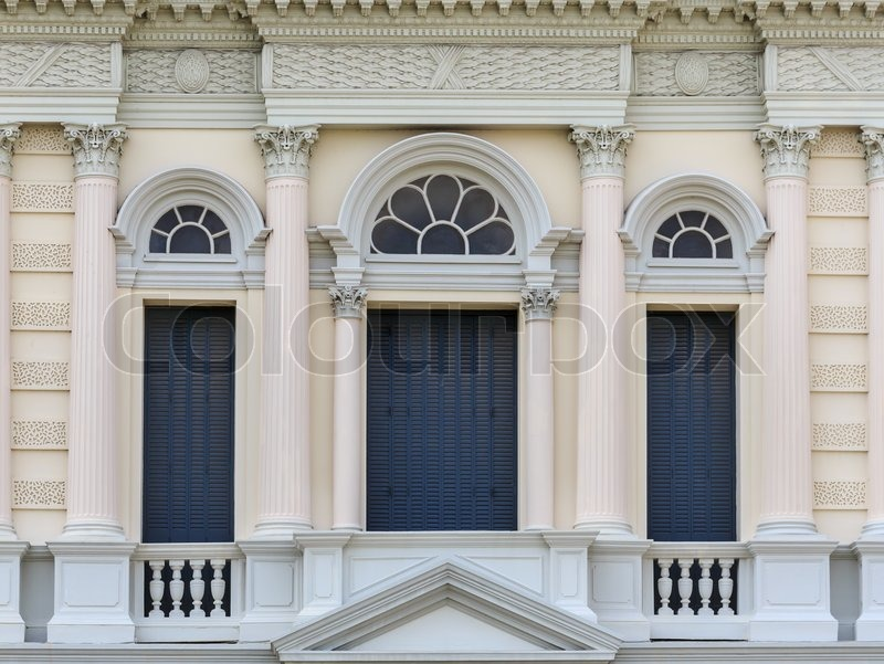 European Style Arch Window In Grand Palace Thailand