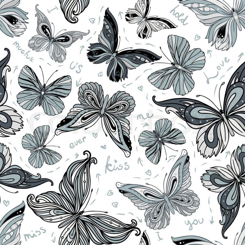 Seamless Vintage Black And White Patterned Butterfly Background Vector Illustration