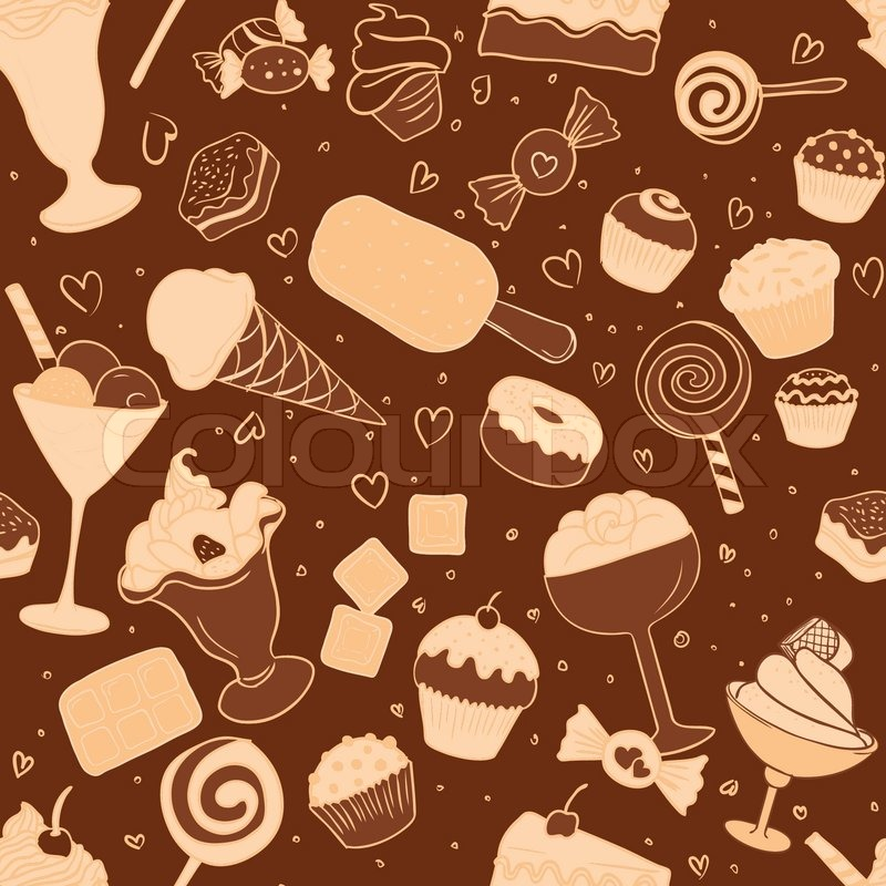 Seamless Pattern With Chocolate Candies And Sweets Stock