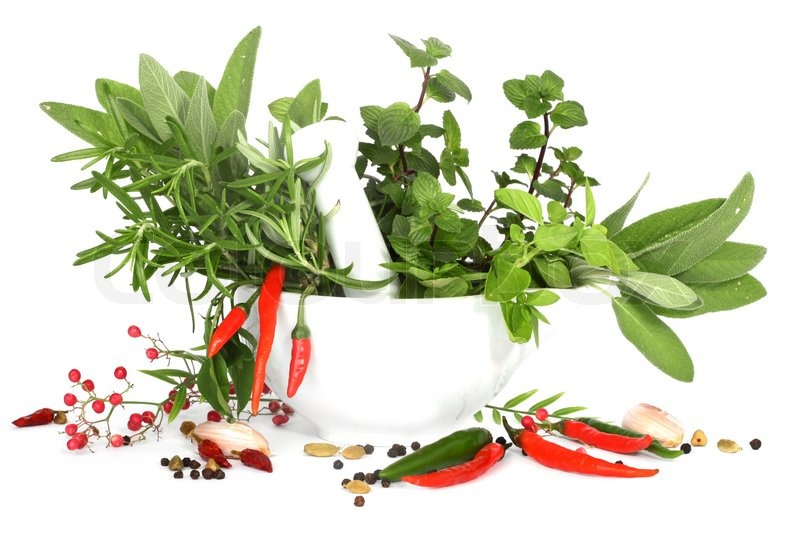 Mixed Herbs With Red Hot Peper In Mortar With Pestle On