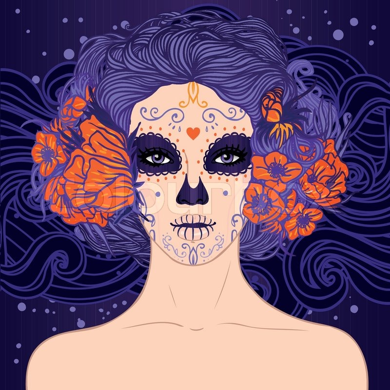Young Pretty Mexican Sugar Skull Girl With Flowers In Her