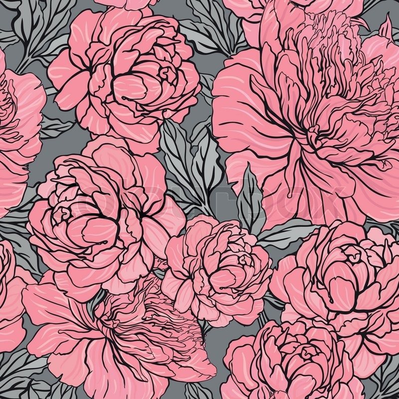 Elegant Seamless Color Peony Pattern On Gray Background